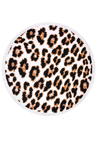 Leopard Pattern Fringed Convertible Terry Cloth Beach Throw