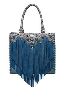 Western Cowgirl Fringe Accented Tote Bag With Gun Pocket