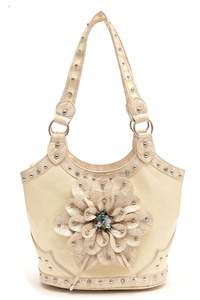 Flower Center Accented And Studs Top Handle Satchel Bag