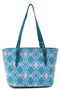 Symbolic Print Accented Tote Long Slim Handle Bag