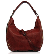 Solid Studs Edged Single Handle Hobo With Strap