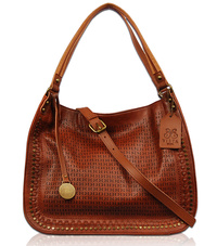 Solid Studs Edged And Textured Hobo Bag With Strap