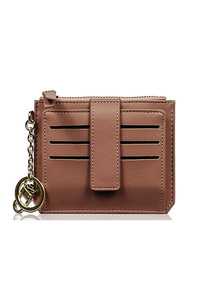 Solid Flap Over Credit Card Holder With Zipper Pouch Wallet