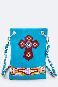 Cross And Beads Accented Cellphone Messenger With ID Card Holder