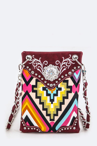 Aztec And Rhinestones Accented Cellphone Messenger With ID Card Holder