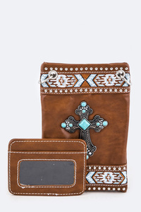 Cross, Rhinestones, Stone Accented Cellphone Messenger With ID Card Holder
