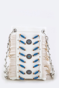 Bead Stitch, Fringe Accented Cellphone Messenger With ID Card Holder