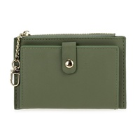 Solid Flap Over Wallet Holder With Chain Strap