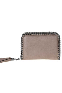 Restocked Small Double Chain Edged Zip Around Tassel Pull Wallet