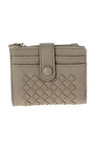 Solid Weaved Flap Over Wallet With Credit Card Holders