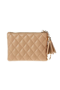 Solid Quilted Zip Top Coin And Key Purse