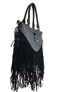 Fringe And Ribbon Accented Suede Top Handle Bag With Strap