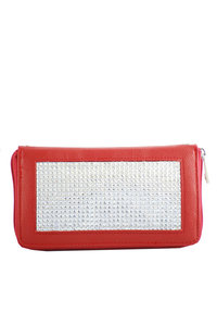 Rhinestones like Wrist and Shoulder Strap Zippered Wallet
