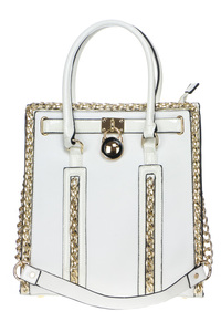 Chain And Center Key Accented Tote Top Handle Bag With Strap