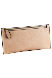 Solid Front Zipper Simple Wallet