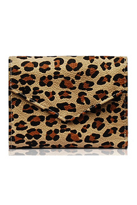 Animal Print Tri Fold Flap Over Wallet