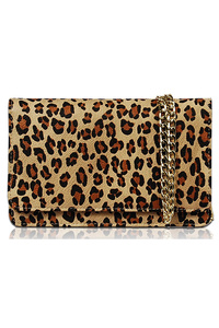 Animal Print Flap Over Clutch With Chain Strap