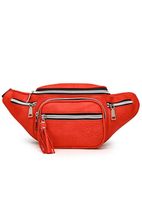 Solid Multi Pockets Fanny Pack With Tassel Zipper Pull