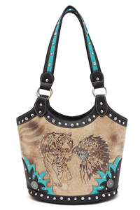 Western Cowgirl Tiger Indian Print Studded Design Bucket Tote Bag