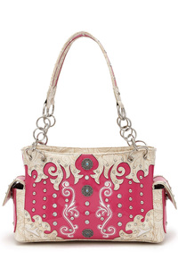 Western Cowgirl All Over Rhinestone And Studded Design Satchel Bag