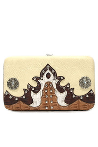 Western Cowgirl Flame Embroidery Design Hard Case Wallet
