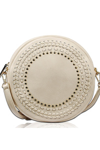 Solid Studs And Stitched Round Messenger Bag