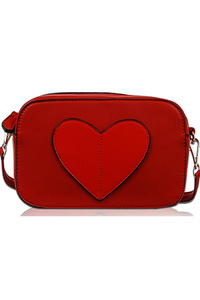 Solid Heart Shape Patched Messenger Bag