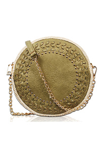 Solid Stitched And Studs Round Messenger Bag