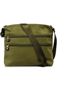 Solid Nylon Double Front Zipper Messenger Bag