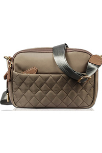 Solid Nylon Quilted Front Pocket Messenger Bag