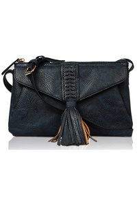 Solid And Tassels Flap Over Messenger Bag