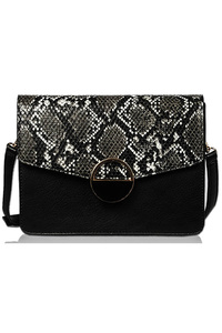 Solid And Snake Skin Flap Over Messenger Bag