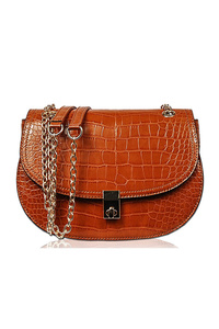 Solid Croco Flap Over Messenger Bag With Chain Strap