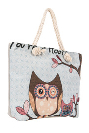 Restocked Owl Print Accented Tote Bag With Knot Handle