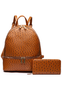 Two In One Ostrich Accented Backpack And Wallet