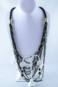 Color Beads and Gold Trim Large Necklace Earring Set