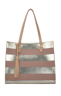 Two Tone Stripe Tote Bag With Slim Handle