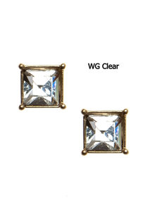Fashion Trendy Small Square Glass Stud Earrings
