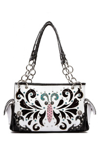 Restocked Western Cowgirl Embelishment And Stones Accented Satchel Bag