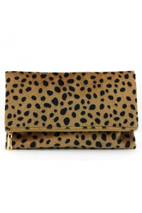 Leopard Synthetic Fur Design Fold Able Clutch With Chain