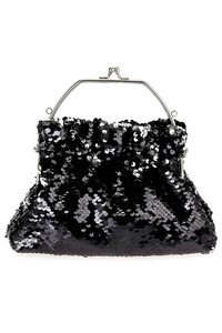 Metallic Glittered Clip On Single Handle Evening Bag With Chain Strap
