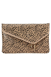 Leopard Print Flap Over Envelope Clutch