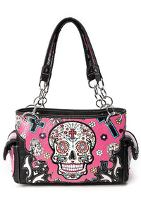 Western Cowgirl Skull, Cross And Flower Accented Satchel Bag